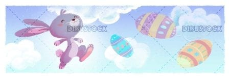 easter bunny with colored eggs and sky background