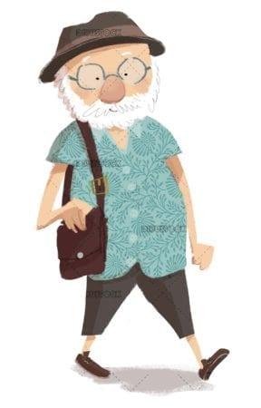 elderly tourist walking