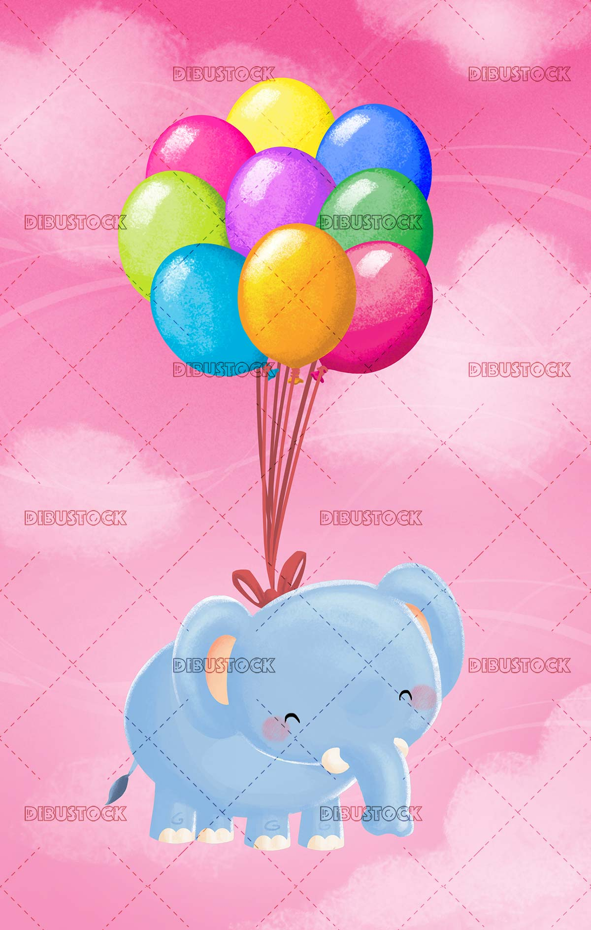 elephant flying with balloons across the pink sky