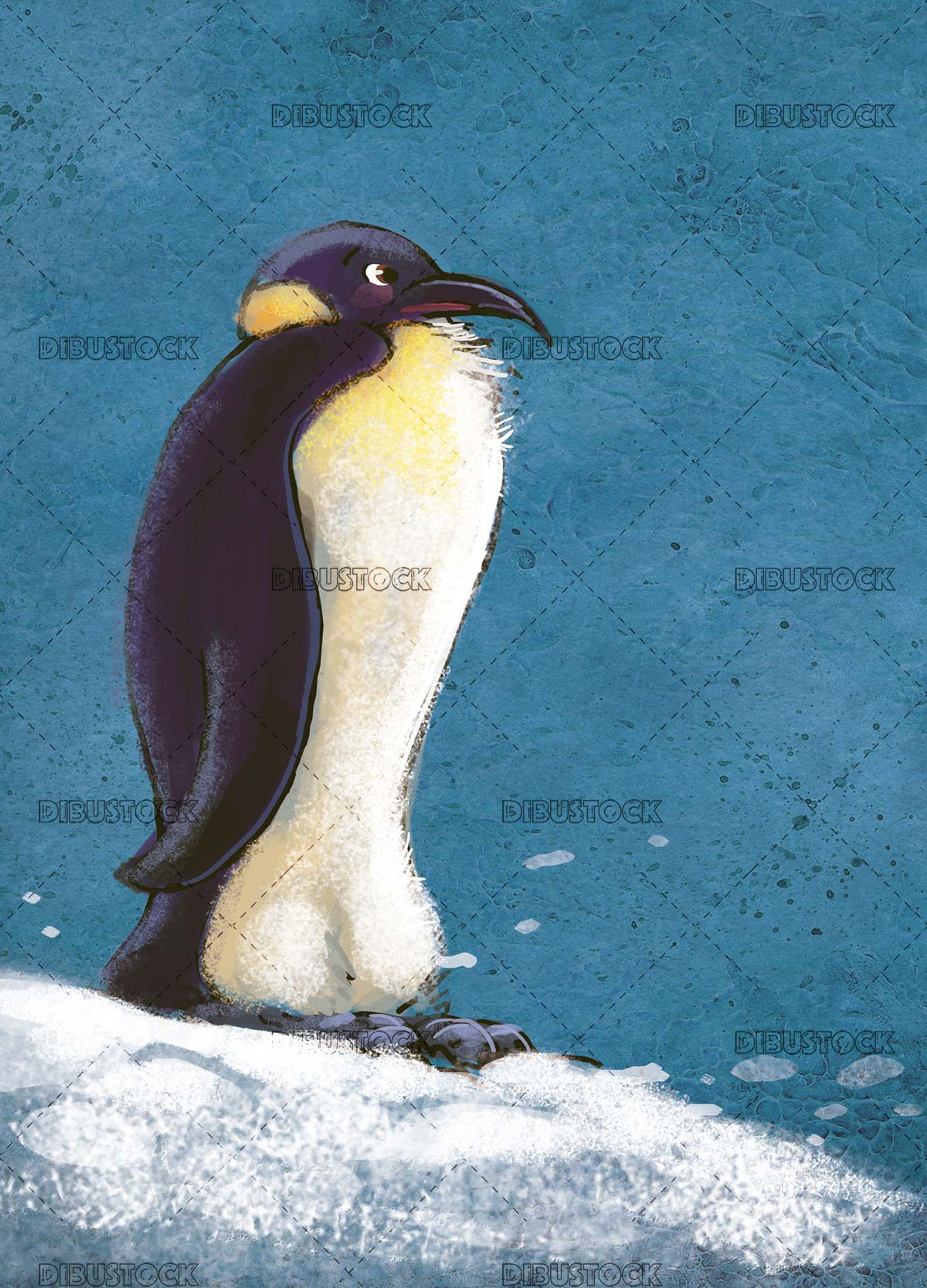 emperor penguin with texture background