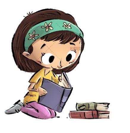entertaining girl reading books