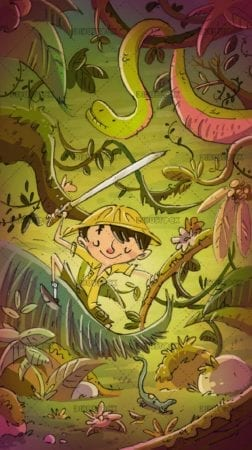 explorer boy in the jungle