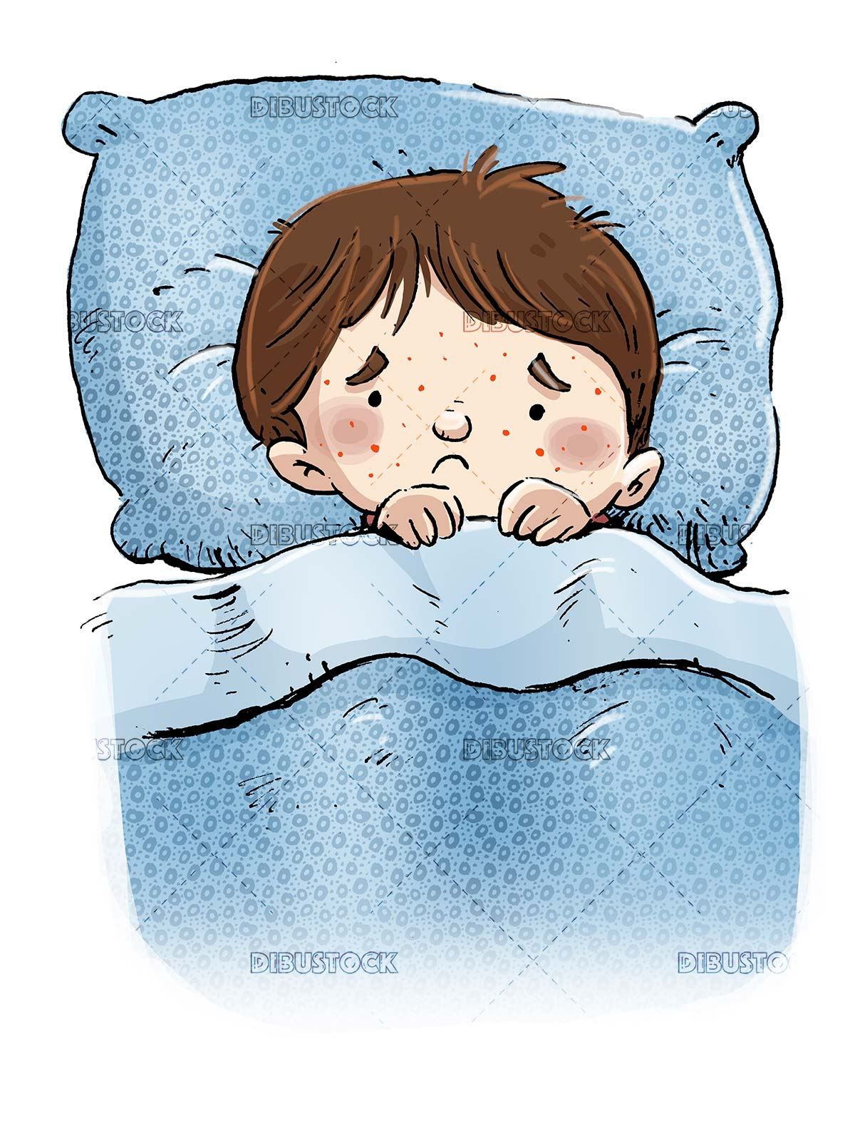 face of child lying in bed sick isolated