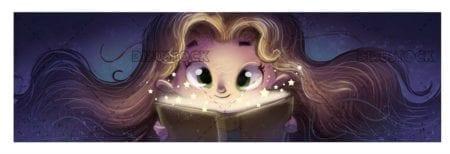 face of girl looking at a magic book