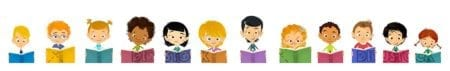 face of happy children of different ethnicities reading books isolated
