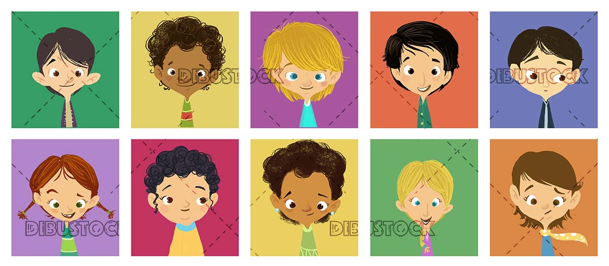 faces of boys and girls in different colored squares