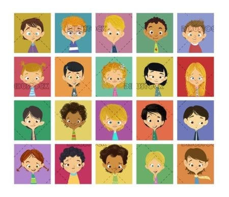 faces of children in colored squares