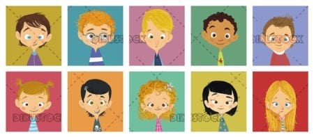 faces of children in squares of different colors