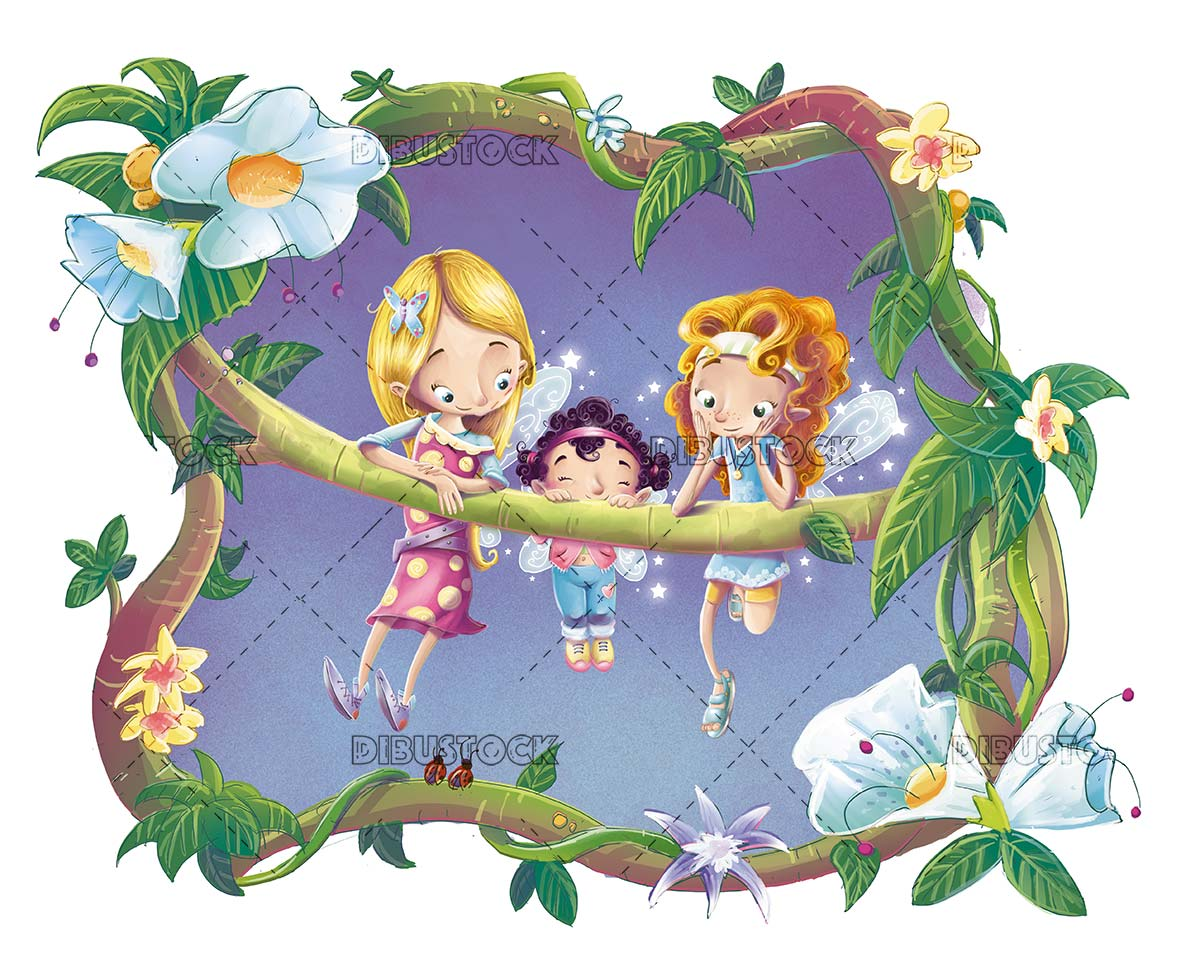 fairies clinging to a branch