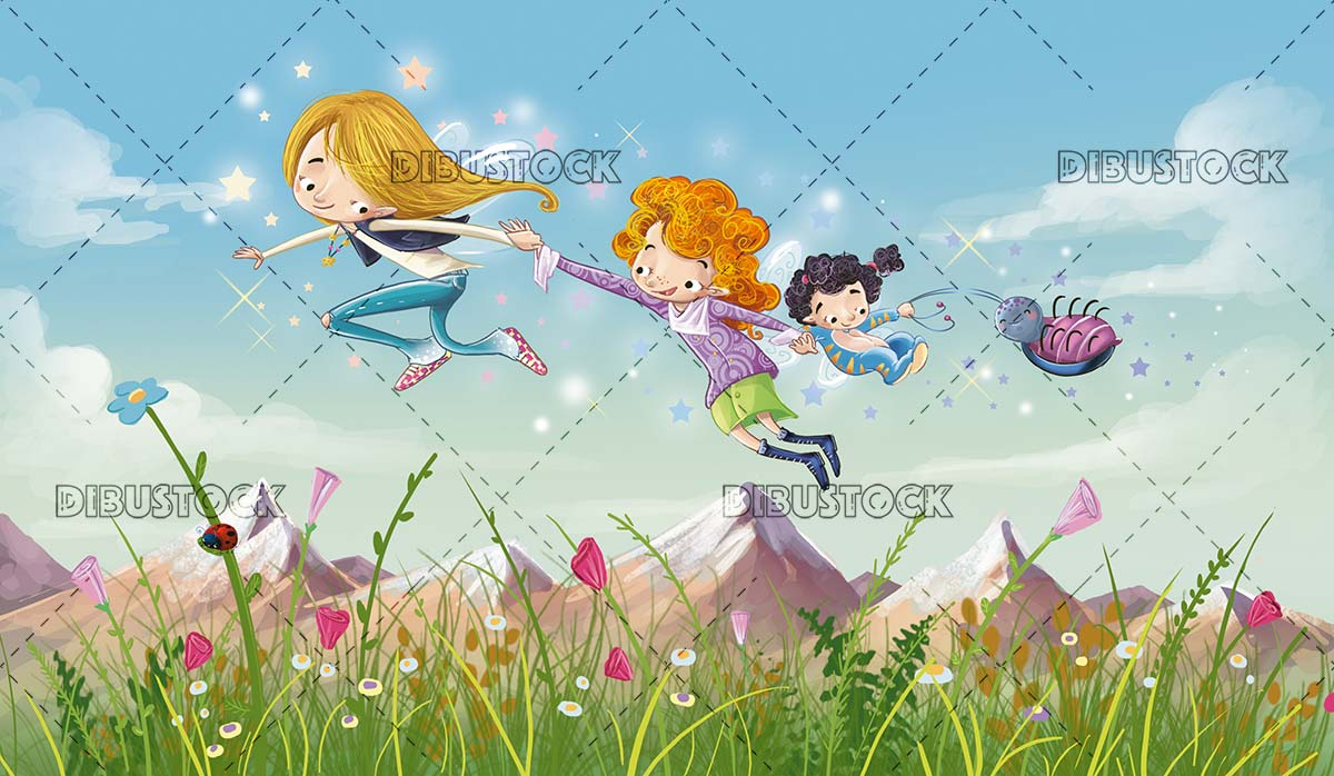 fairies flying together through a valley