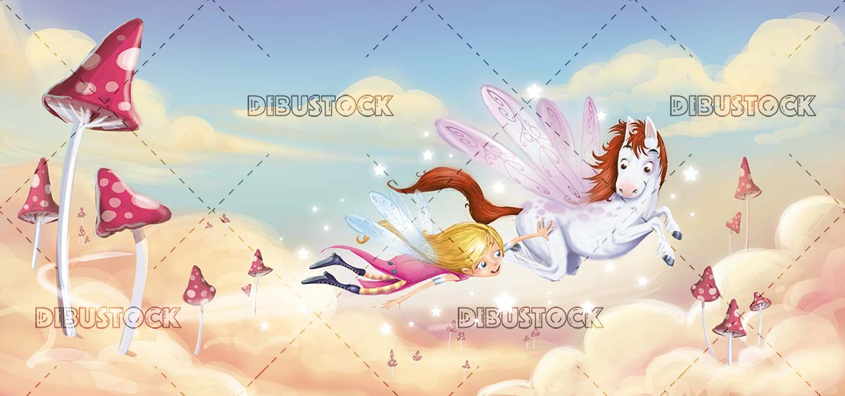 fairy and flying horse flying through the magical sky