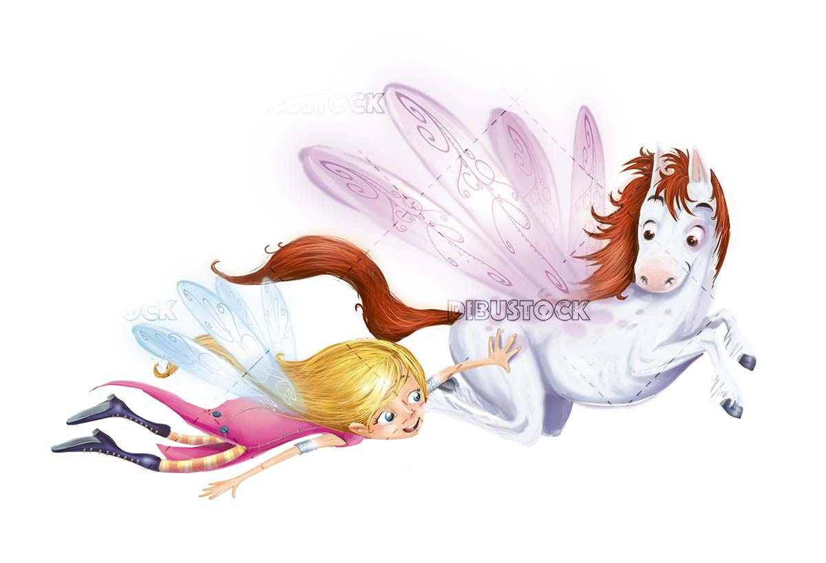 fairy and horse with wings flying