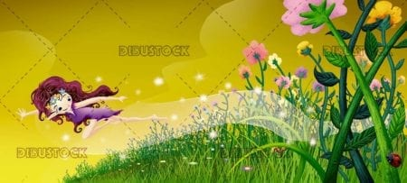 fairy flying over a field of flowers