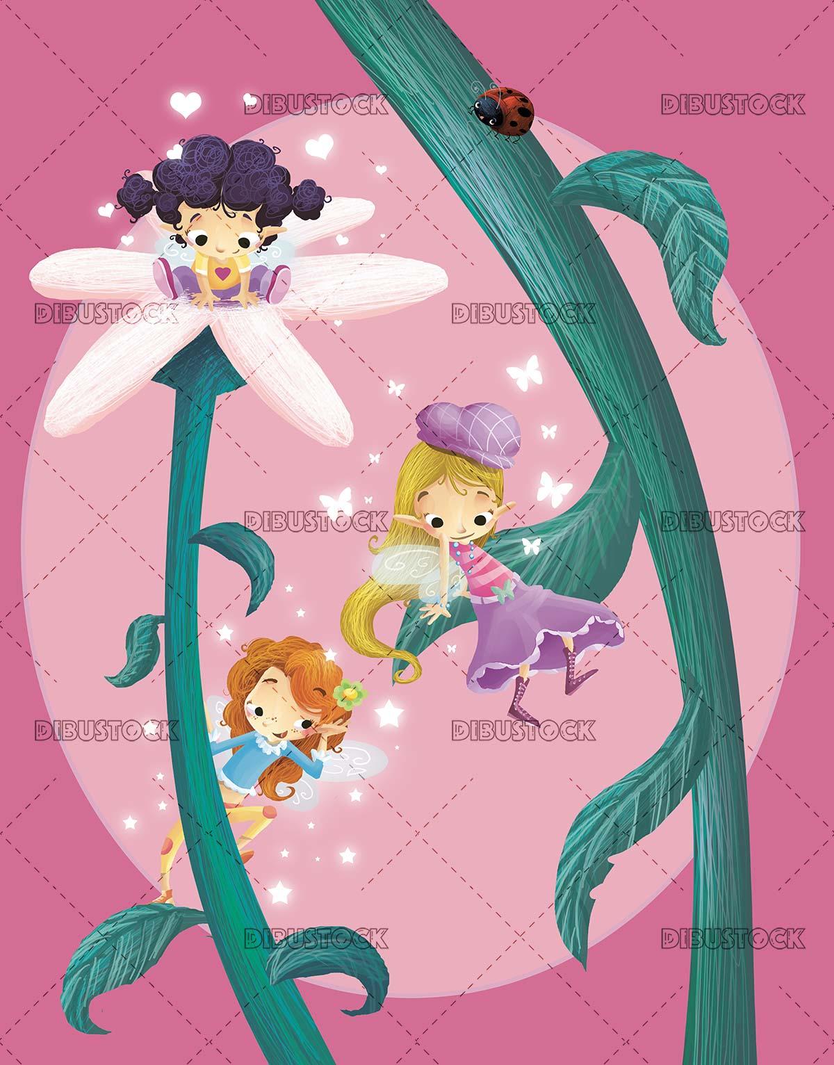 fairy girls next to a flower