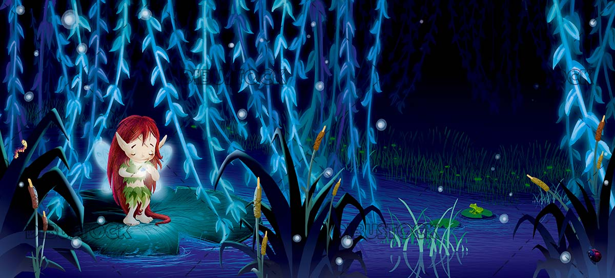fairy in the swamp at night with fireflies