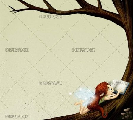 fairy lying in a tree reading a book