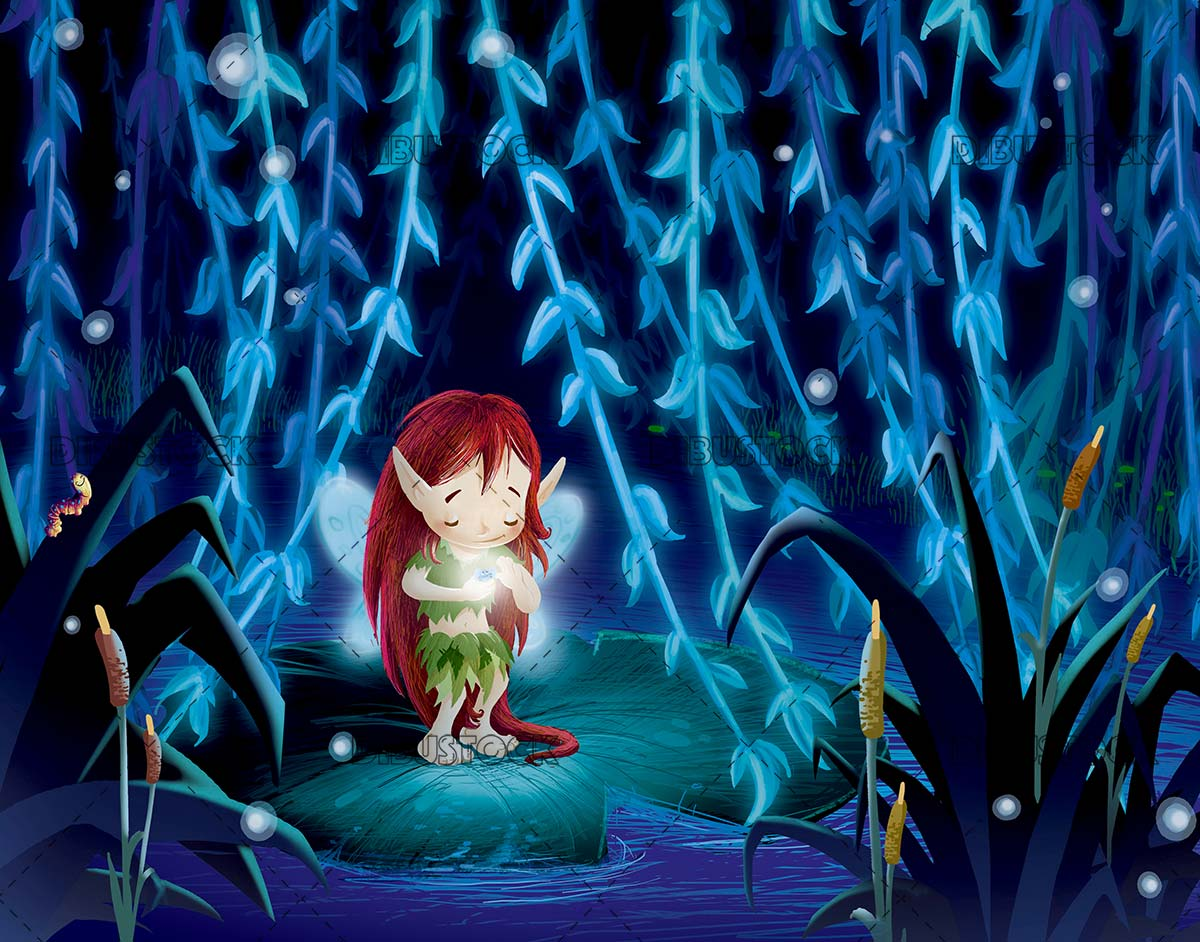 fairy on top of a waterlily while playing with a firefly