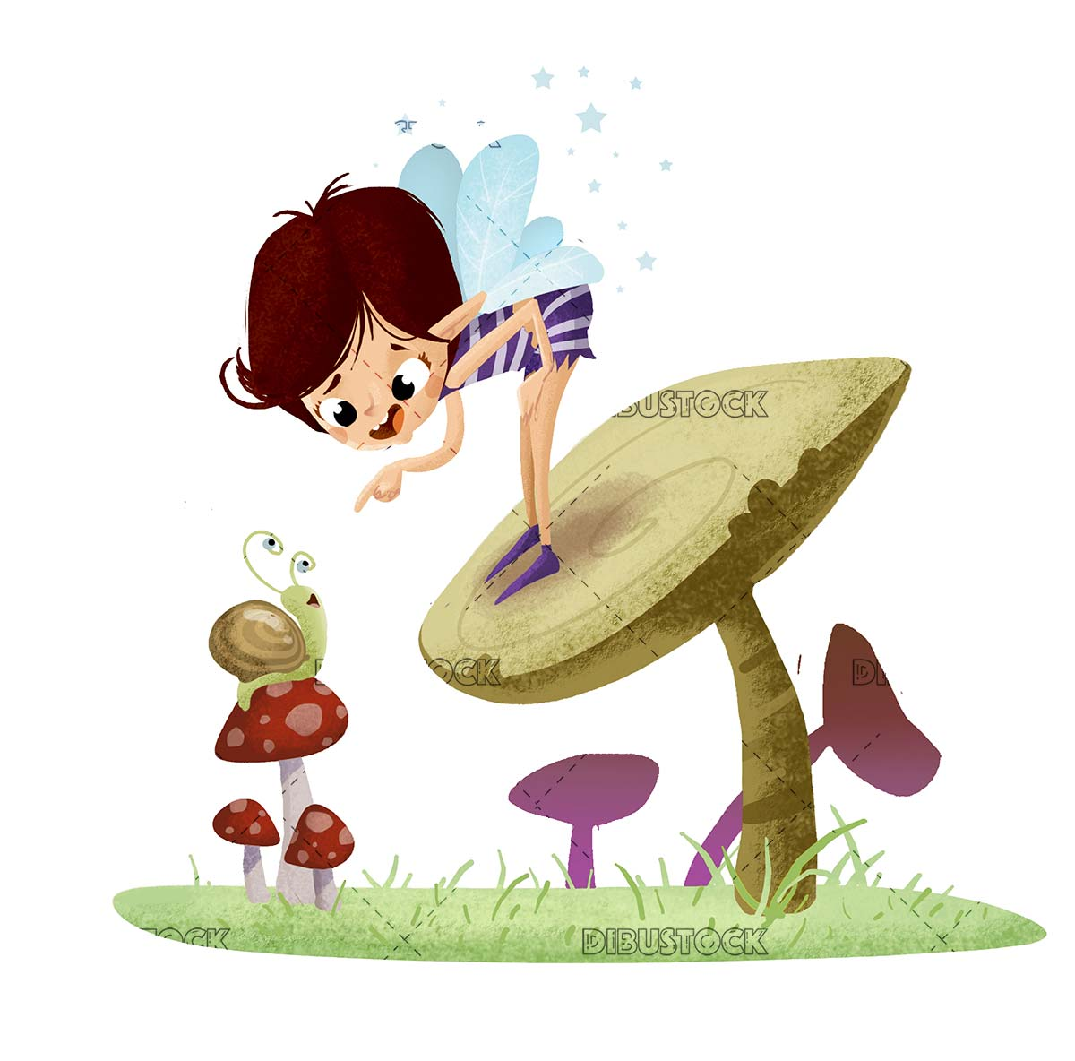 fairy talking with snail on top of a mushroom