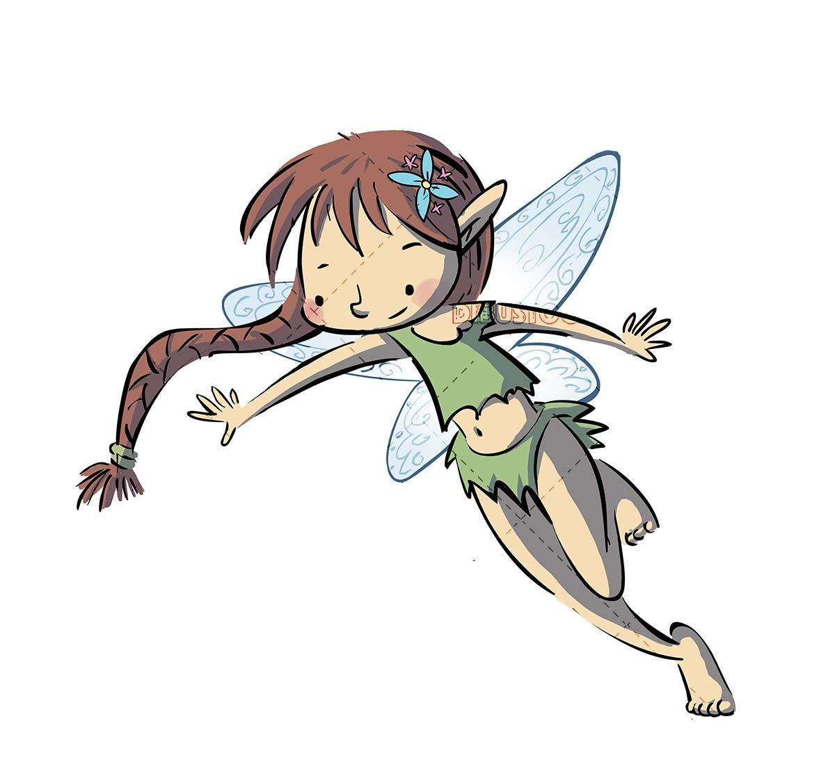 fairy with braid flying on isolated background