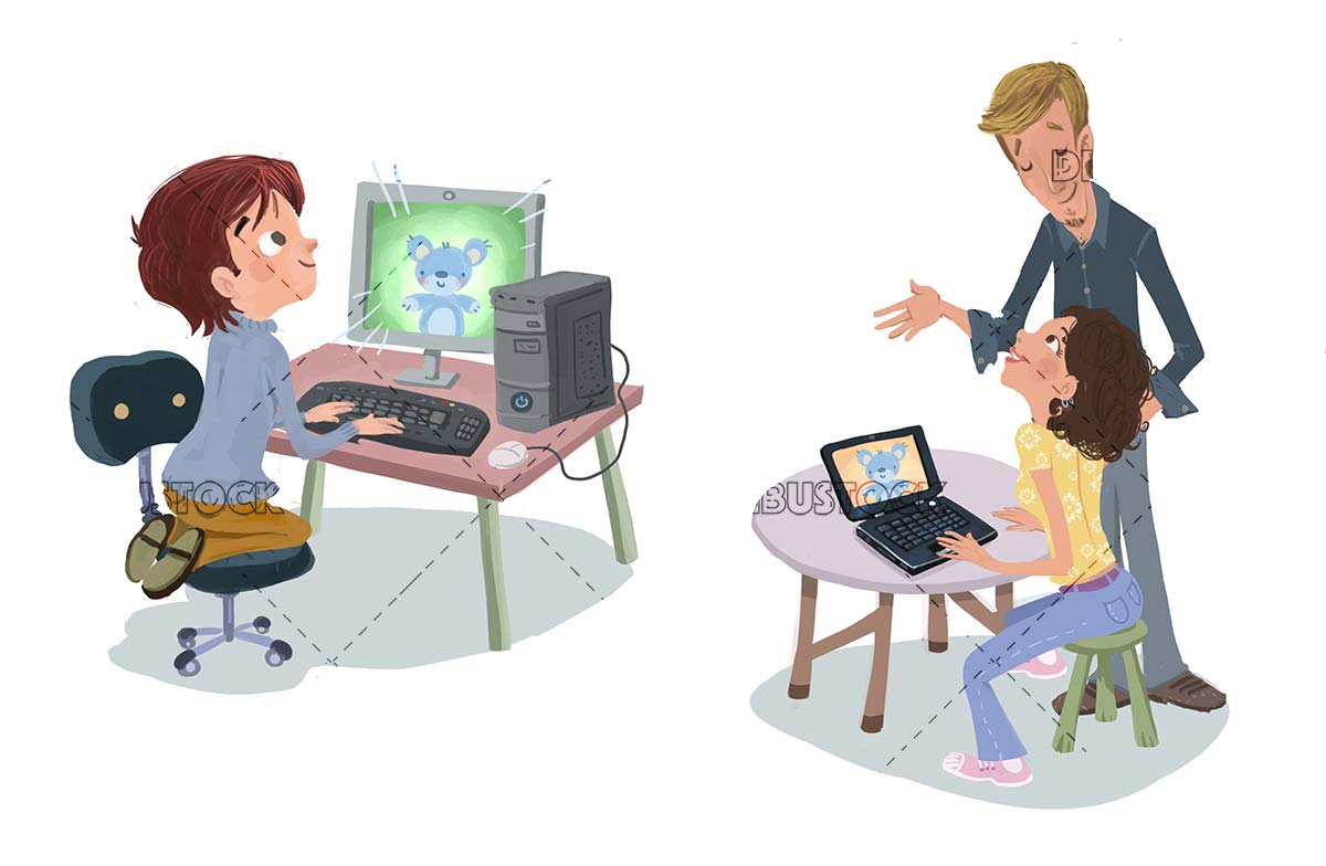family using computers