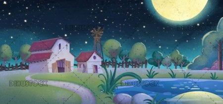 farm with lake at night