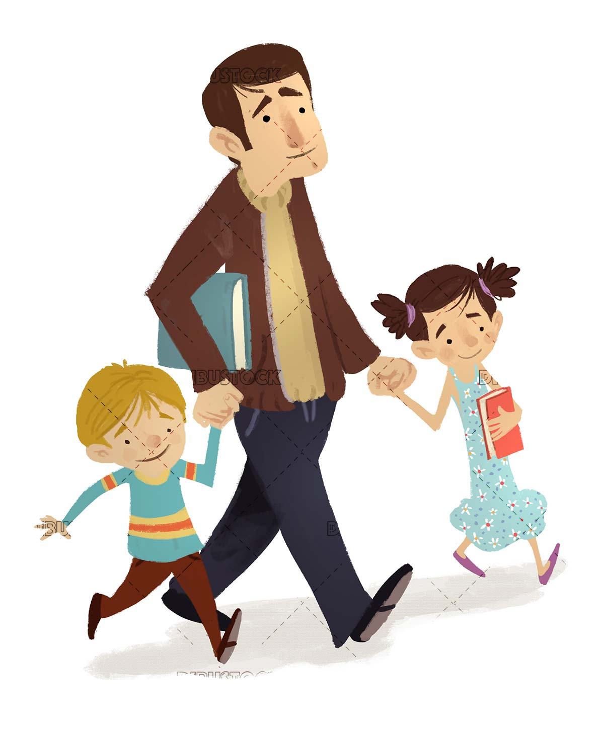 father with his two son walking with books in his hand