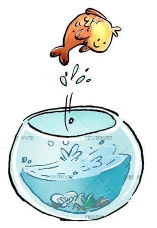 fishbowl with fish jumping