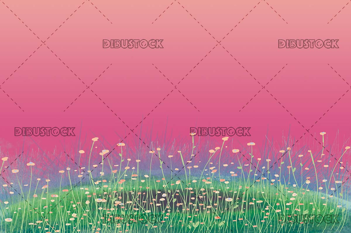 flower meadow with pink background