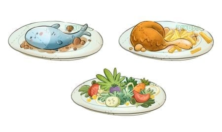 food dishes with different foods