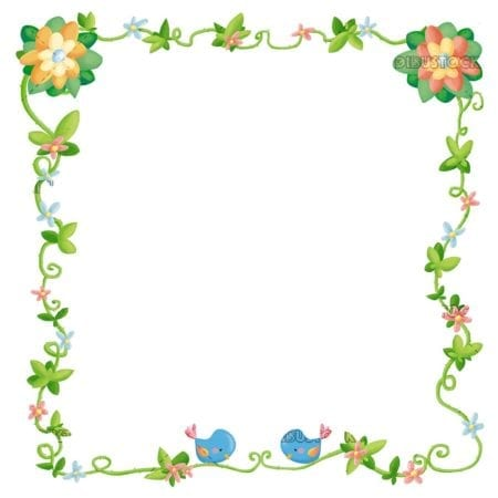 frame with birds and flowers