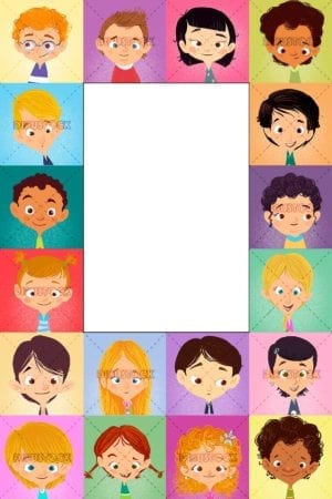 frame with faces of children of different ethnicities
