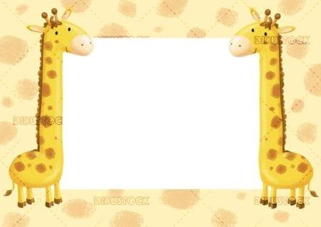 frame with giraffe drawing