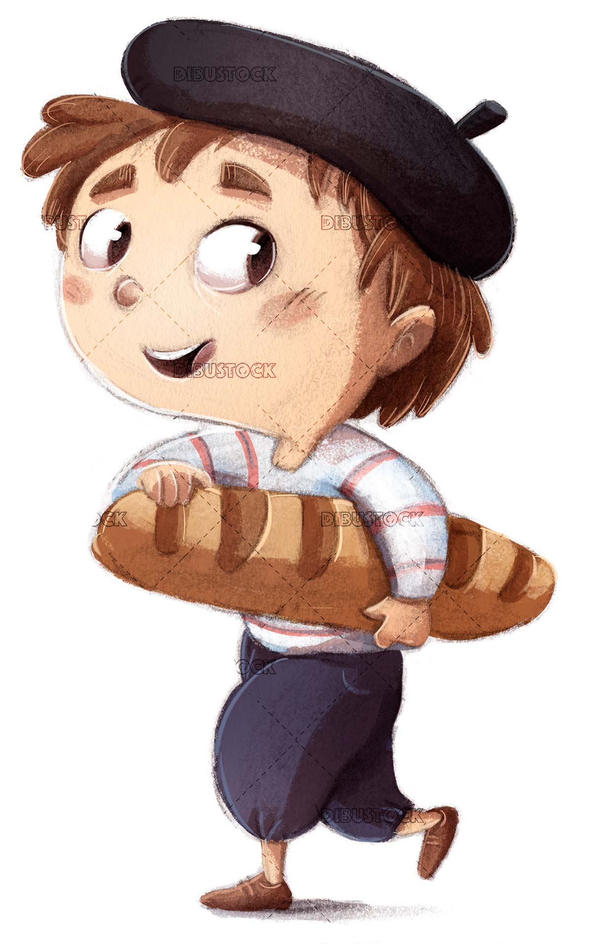 french boy with loaf of bread