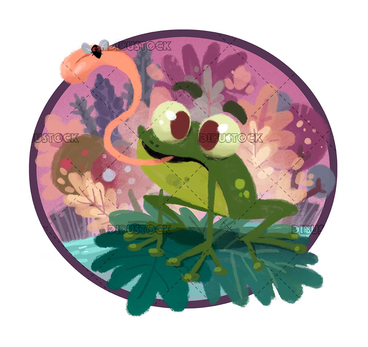 frog in a pond with an insect in its mouth