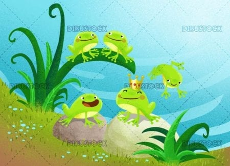 frogs in the pond
