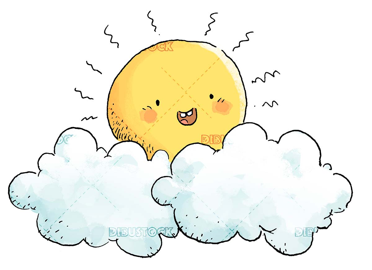 fun and cheerful sun with clouds