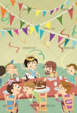 fun birthday party with kids and cake