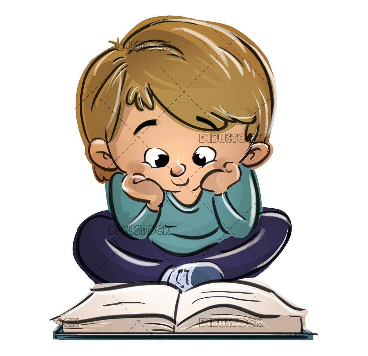 funny and happy boy reading a book sitting