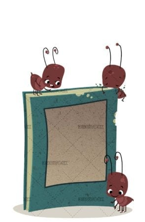 funny ants with book
