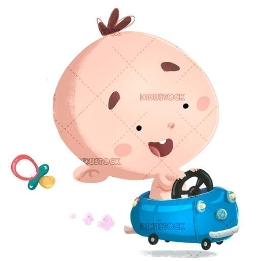 funny baby driving a blue car