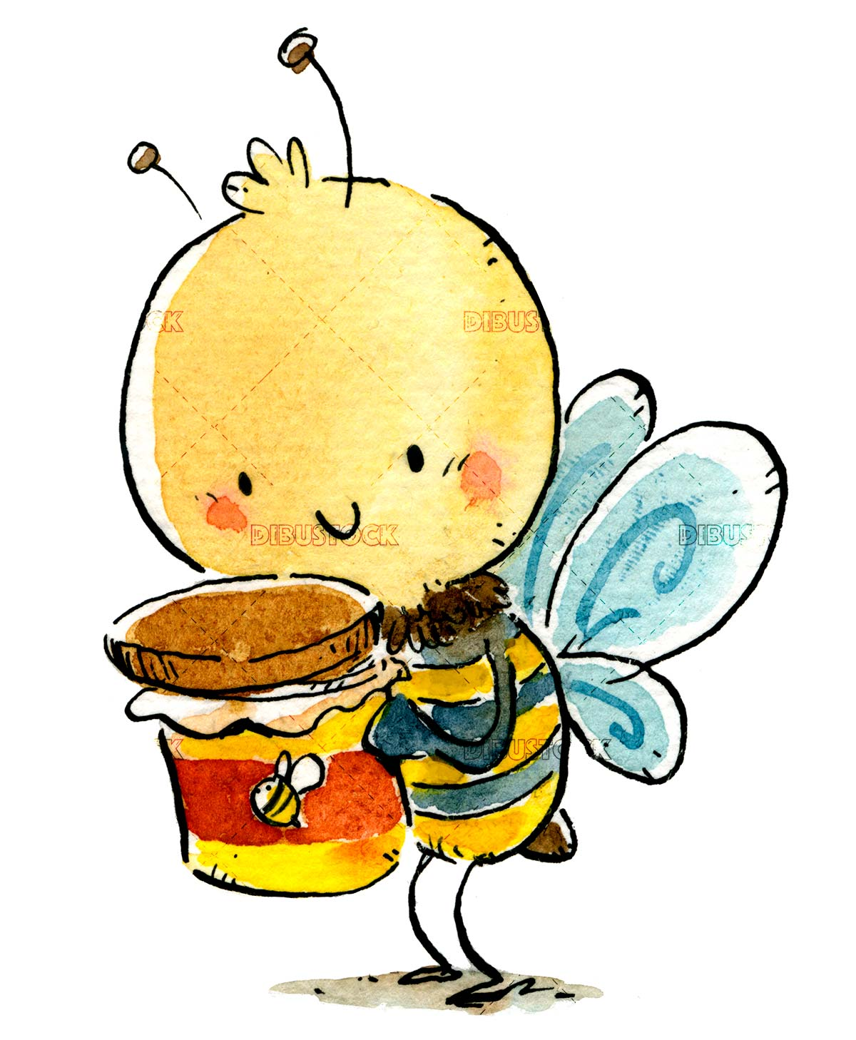 funny bee with honey pot isolated