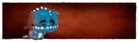 funny blue monster with texture