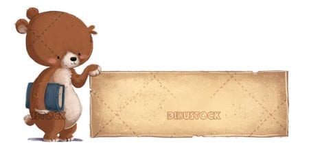 funny brown bear with book and poster