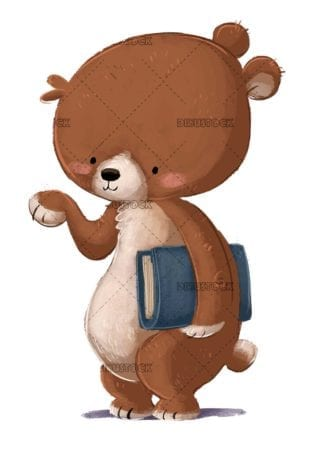 funny brown bear with book on isolated background