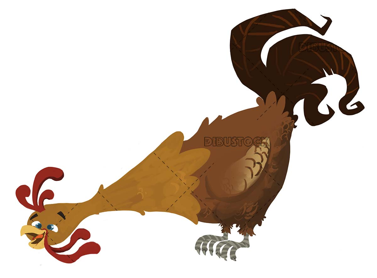 funny brown rooster