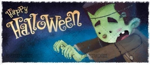 funny classic frankenstein monster with halloween background