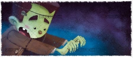 funny classic frankenstein monster with texture background