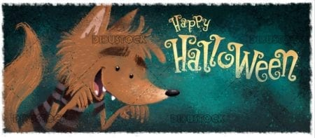 funny classic werewolf with halloween background