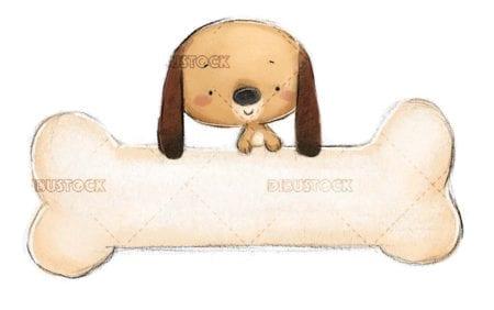 funny dog with giant bone on isolated background