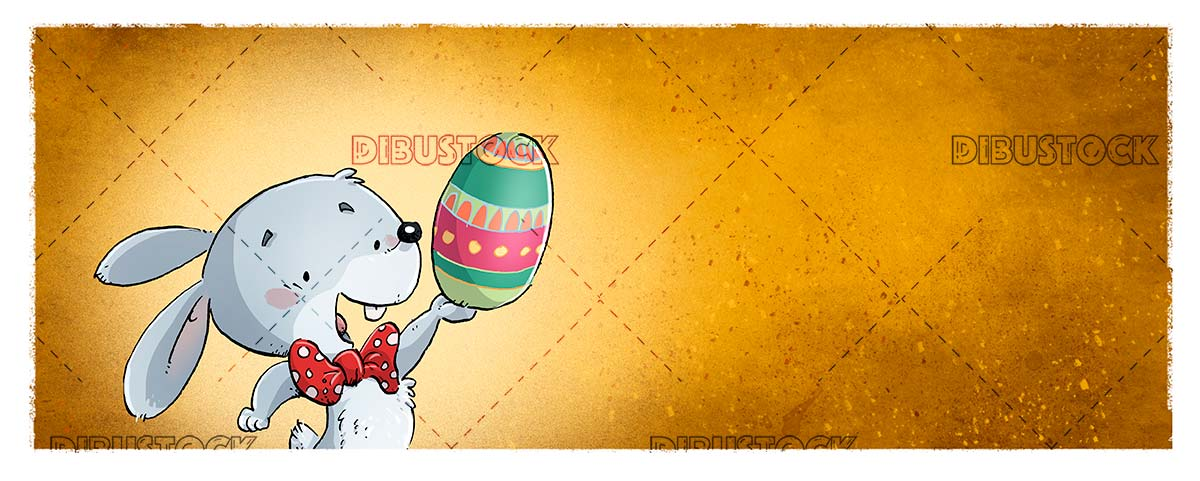 funny easter bunny with colored egg in the paw and orange background